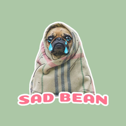Twitch Emote Logo Creator Featuring a Sad Pug 3981a