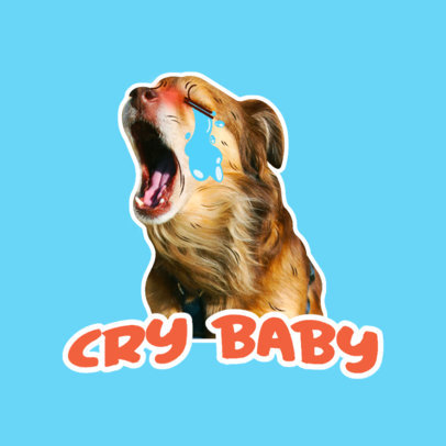 Funny Twitch Emote Logo Maker with an Icon of a Dog Crying 3981c