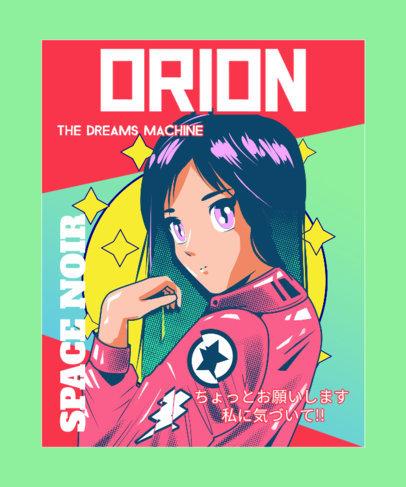Illustrated T-Shirt Design Creator Featuring an Anime Girl 3303b