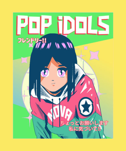 Trendy T-Shirt Design Template with an Anime Idol on a Magazine Cover 3303h