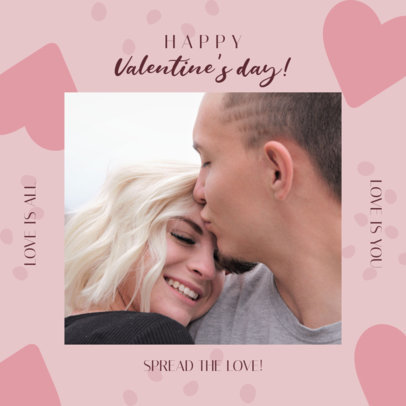 Instagram Post Design Template With a Valentine's Day Message and Heart Graphics 3300a