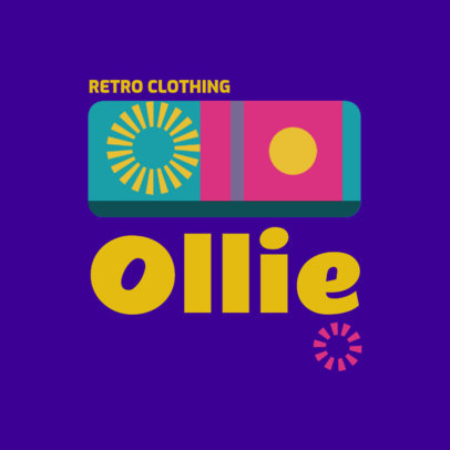 Retro Clothing Logo Template with Trendy Colorful Shapes 3986e