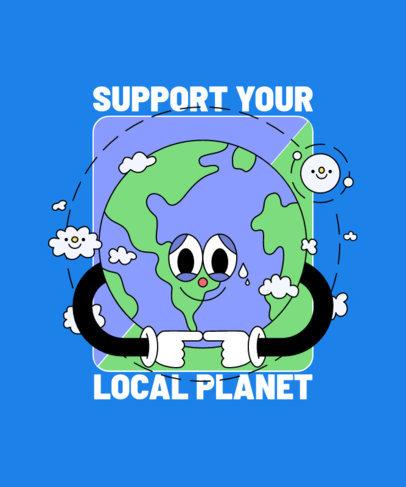 T-Shirt Design Template Featuring a Shy Planet Cartoon Character 3412a