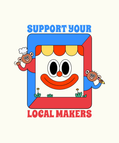 Illustrated T-Shirt Design Creator for a Local Community Support 3412b