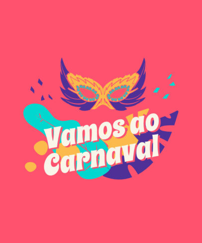 Colorful T-Shirt Design Maker Featuring a Carnival Mask Illustration 3454a-el1