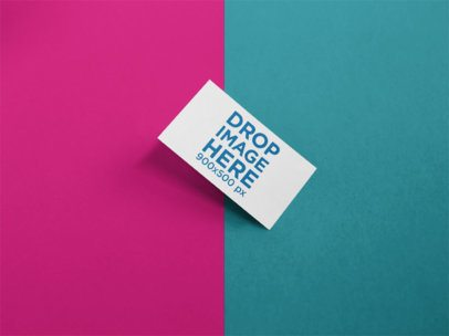 Business Card Mockup on a Surface with Two Colors a15122