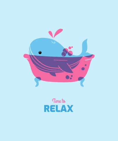 Illustrated T-Shirt Design Generator with a Whale in a Tub 3416f