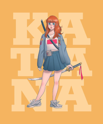 T-Shirt Design Template Featuring a Kawaii Anime Girl with a Katana 3332d