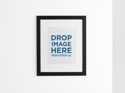 Front Mockup of a Framed Art Print on a Pastel Color Wall a15285