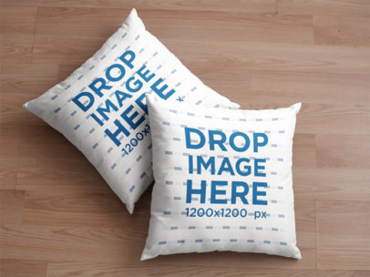 Two Pillows Mockup Lying on a Wooden Surface a15180