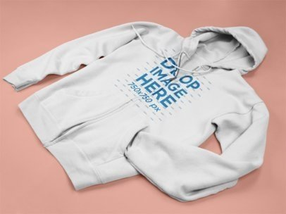 Full Zip Hoodie Mockup Lying on a Pink Surface a15240