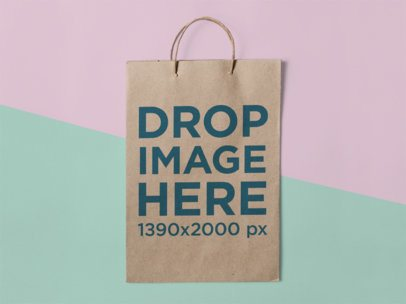 Frontal Mockup of a Paper Bag Standing Against a Two Colors Background a15304