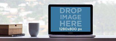 Mockup of a MacBook Pro Placed on a Desktop
