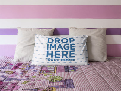 Long Pillow Mockup Lying on a Pink Bed Against Two White Cushions a14930