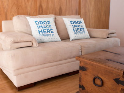 Two Square Pillows Template Standing on a Beige Sofa a14922