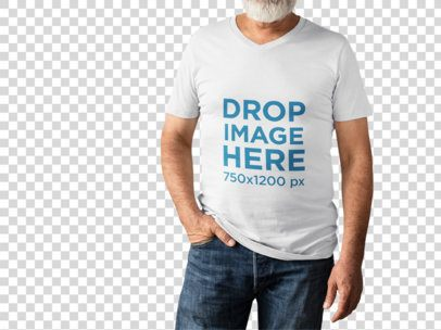 Senior Man with Cropped Face Wearing a Round Neck Tee Mockup While Standing Against a Transparent Backdrop a15516