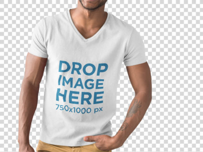 Cropped Face Man Posing and Wearing a V-Neck Tshirt Mockup While Standing Against a Transparent Wall a15507