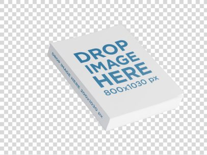 Paperback Angled Book Template Floating on a Transparent Room a15676