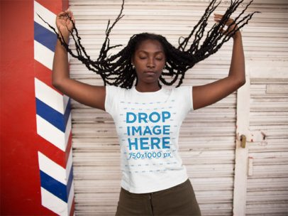 Black Girl Playing With Her Hair and Wearing a T-Shirt Mockup a15538