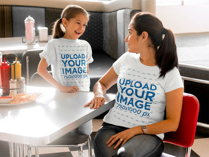 Mother and Daughter Wearing Different Tshirts Mockup While at a Diner Restaurant a15581