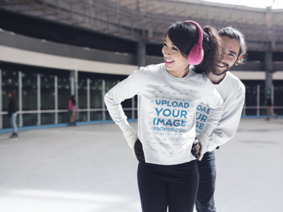 Couple Wearing Crewneck Sweatshirts Mockup with Different Designs While Skating a15593