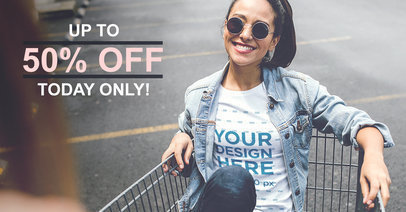 Facebook Ad - Girl on a Shopping Cart a1028