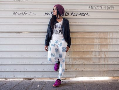 Girl With Purple Shoes Wearing Leggings Mockup While Outdoors a15383