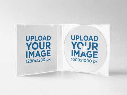 Open CD Box Mockup Standing on a Solid Color Surface a15207