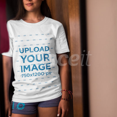 Girl Wearing a Round Neck Tshirt Mockup While Standing Cropped Faced a15645