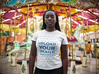 Black Girl with Dreadlocks Wearing a T-Shirt Template While Standing Against a Carousell a15949