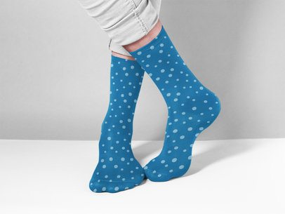 Crossed Legs Wearing Socks Mockup While Standing on a Solid Room a15599
