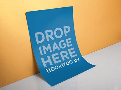 Mockup of a Poster Leaning Against a Wall a6320