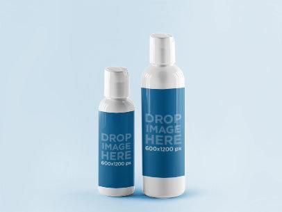 Mockup Featuring Two Plastic Bottles Standing Next to Each Other a845