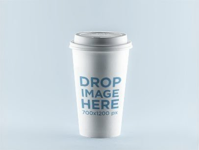 Label Mockup Featuring a Coffee Cup Standing Over a Solid Backdrop 857a