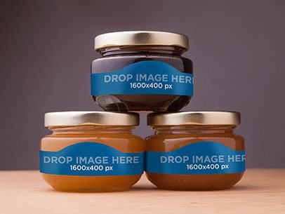 Label Mockup Featuring Three Jars of Sweet Honey a6634