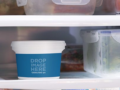 Label Mockup of a Container In a Refrigerator a7153