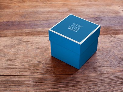 Label Mockup of a Small Box Sitting On Top of a Table a6951