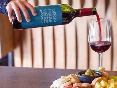 Wine Bottle Label Mockup Template at a Restaurant a6949