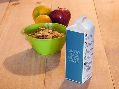 Packaging Mockup of a Milk Carton at a Breakfast Table a6787