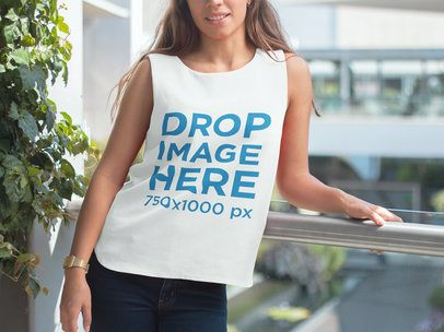 T-Shirt Mockup of a Pretty Lady at a Balcony 6843a