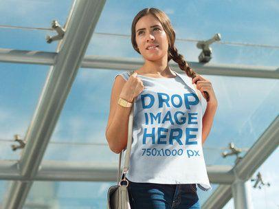 T-Shirt Mockup of a Girl Walking Through a Bridge 6845a