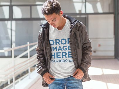 T-Shirt Mockup of a Young Man Walking Around 7291a