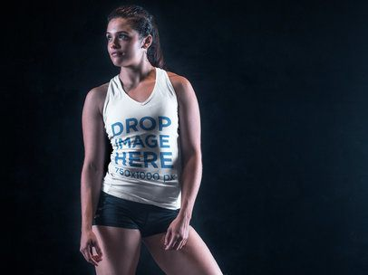 Tank Top Mockup Featuring an Athletic Young Woman 7635a