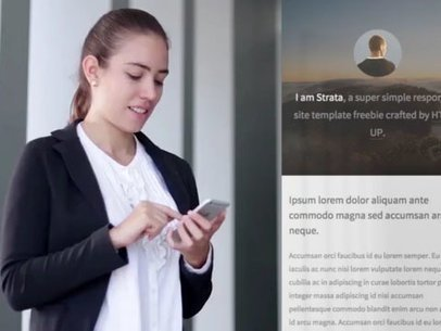 Young Woman at Work Using an iPhone App Demo Video 8102a