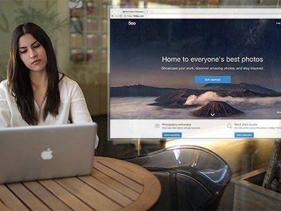 App Demo Video of a Woman at a Cafe Using a Macbook 8631a