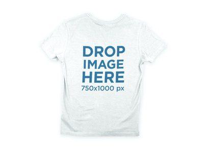 Back of a V-Neck T-Shirt Mockup over a Flat Backdrop a9026