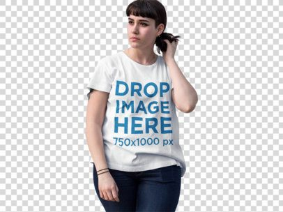 T-Shirt Mockup of a Fashionable Hipster Woman in the Street a9826