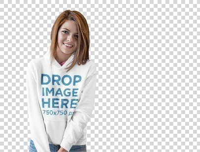 Hoodie Mockup of a Smiling Young Girl in a Photo Studio a9847