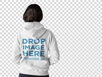 Back of a Woman Wearing a Pullover Hoodie Template Standing at a Photo Studio a9972b
