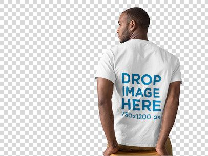 Back of a Black Man Wearing a Round Neck Tee Mockup Facing a Transparent Backdrop a9813b